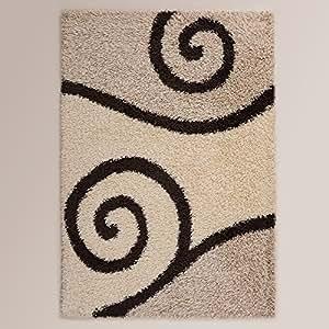 Ustide long pile black and white rug for for Durable carpet for family room