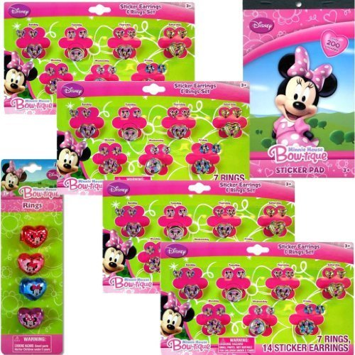 Disney Minnie Mouse Jewelry Party Favor 6-pack Set for Kids - Minnie Bow-tique Days of the Week Sticker Earrings and Rings Set for Kids, Minnie Bow-tique Stickers (4 Sheets) & Bonus Pack of Special Minnie Rings - 1