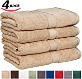 """Utopia Towels Premium Large 100% Cotton Bath Towels, Easy Care, Ringspun Cotton for Maximum Softness and Absorbency, 4-Pack - Champagne (30"""" x 56"""")"""