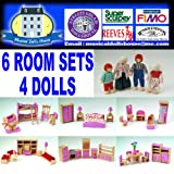 PINK WOODEN DOLLS HOUSE FURNITURE 6 ROOMS 4 DOLLS LIVING DINING BATHROOM KITCHEN BEDROOM KIDS ROOM COMPLETE SET