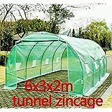 SERRE DE JARDIN TUNNEL ZINCAGE TENTE BÂCHE 6X3X2M GRANDE TAILLE NEUF 87