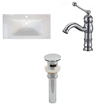 "Jade Bath JB-16663 32"" W x 18"" D Ceramic Top Set with Single Hole CUPC Faucet and Drain, White"