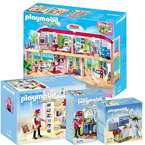 Playmobil Hotel Set Includes: Large Furnished Hotel, Hotel Shop, Porter With Baggage Cart And Housekeeping Service