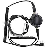 KENMAX Military Tactical IP54 Waterproof Big PTT Telescopic Throat Mic Earpiece Headset for Walkie Talkie CB Ham Radio Baofeng UV-89 BF-388A Kenwood TK-2400V4P TK-3402I16P