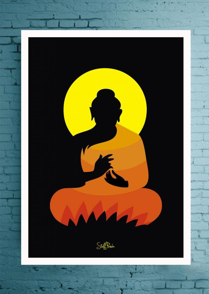 buy stuffpanda whacky cool abstract ethnic gautam buddha glass frame posters wall art online at low prices in india amazonin
