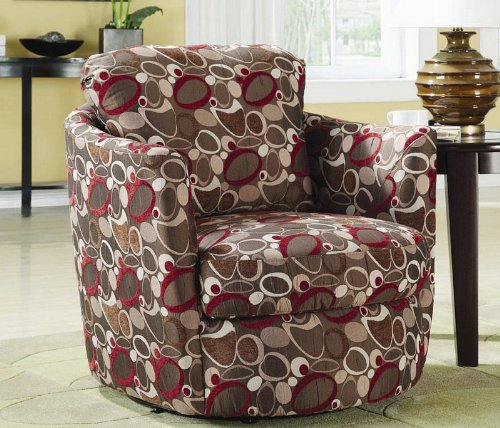 swivel accent chair with oblong pattern in multi finish