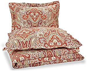 Pinzon Printed Cotton Duvet Cover Set - Full/Queen, Paisley Rosewood