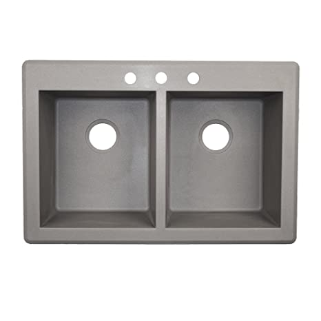 Swaoi|#Swanstone QZ03322SQ.173-3 22-In X 33-In Granite Kitchen Sink 3-Hole, Metallico,
