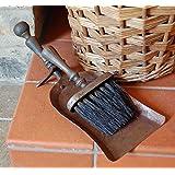 Traditional hammered metal fireside dust pan & brush set