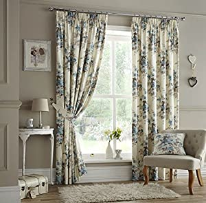 Viator Teal Floral 90x72 Cotton Blend Lined Pencil Pleat Curtains #eladlim *cur by Curtains