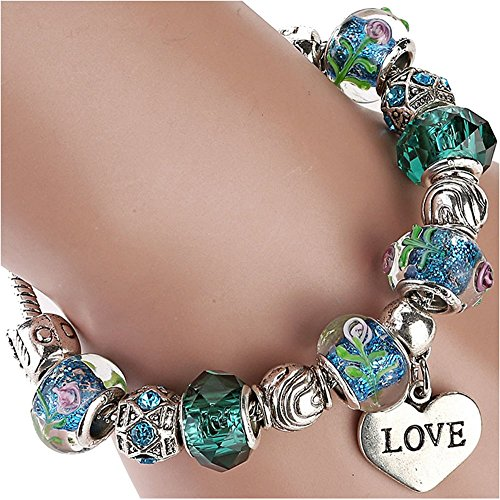 The Starry Night DIY Love Heart Pendant Coloured Glaze Beads Green Religious Bracelet (Baking Tray Springform compare prices)