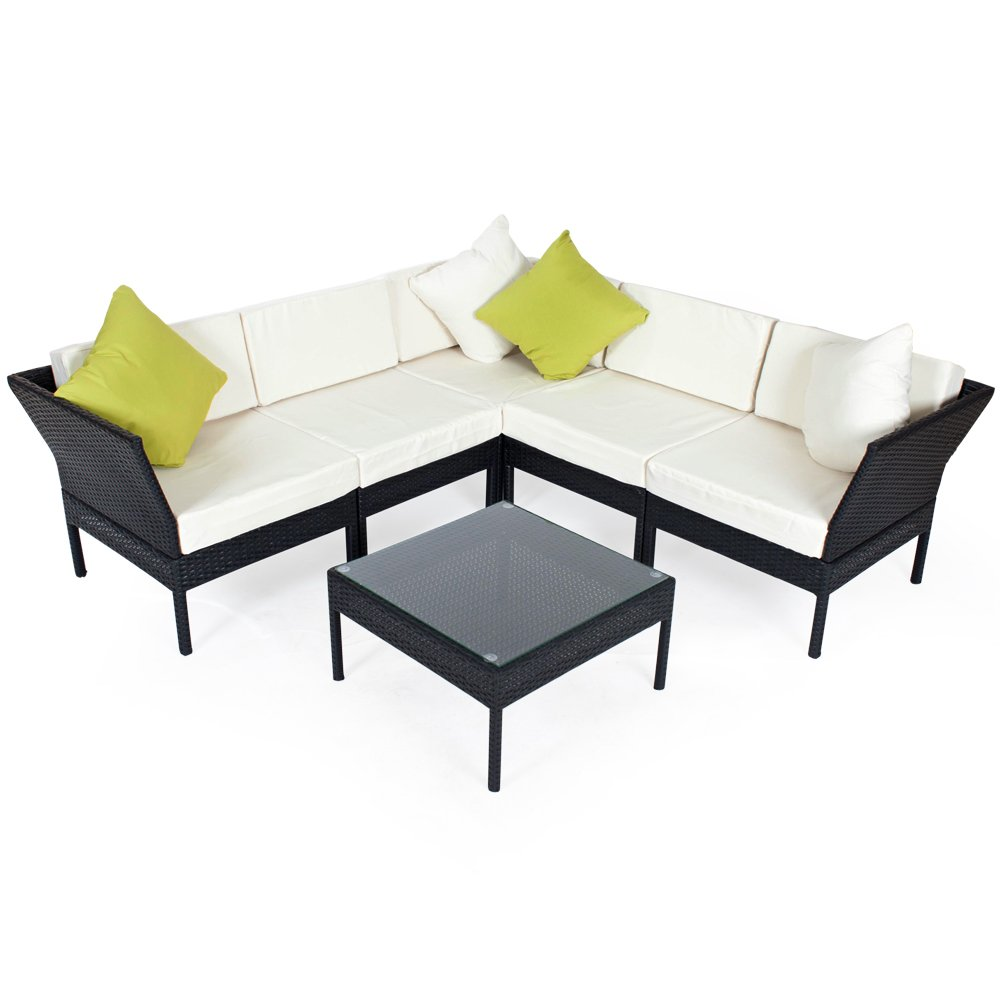 tectake hochwertige aluminium luxus lounge rattanlounge set poly rattan sitzgruppe sofa. Black Bedroom Furniture Sets. Home Design Ideas