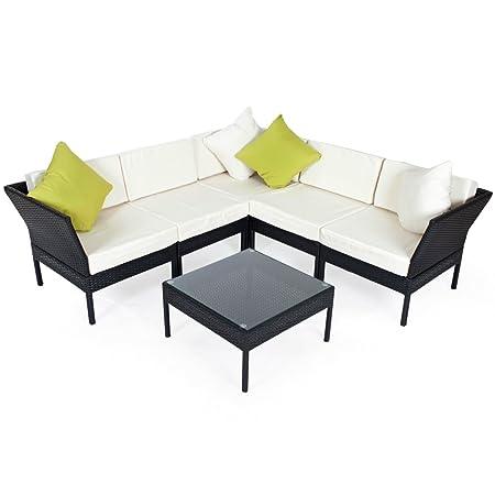 TecTake Conjunto muebles de Jardín con mesa de centro gran sofá en Poly Ratán Aluminio