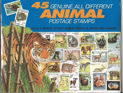 45 Genuine Postage Stamps Assortment - Animals - 1