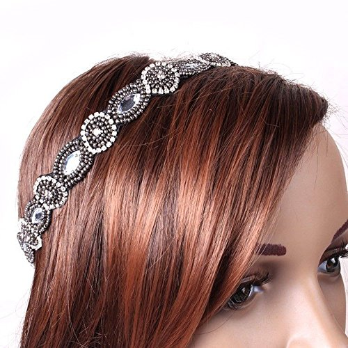 Handmade Rhinestone Crystal Bohemia Stylish Beaded Elastic Fashion Headband Hair Band Accessory front-358640