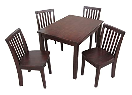 International Concepts 5-Piece 2532 Table with 4 Mission Juvenile Chairs, Rich Mocha Finish