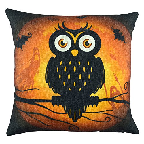 Black Owl Throw Pillow Cover