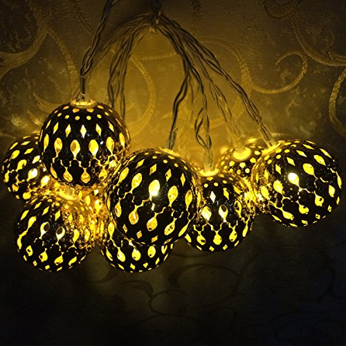 Xcellent Global Battery Powered Amber Yellow Morocco Globe String light 12LED String Lights for ...