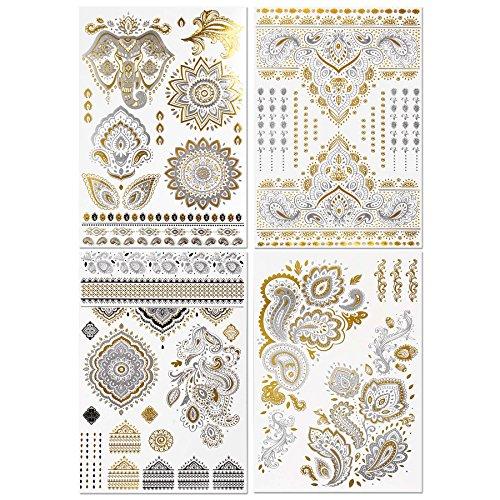 bmc-4-hoja-set-brillante-brillo-oro-metalico-plata-negro-temporal-cuerpo-tatuajes-oro-plateado