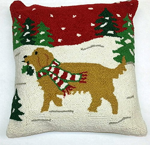 Golden Retriever Prancing with Holly Wool Dog Christmas Throw Pillow - 16