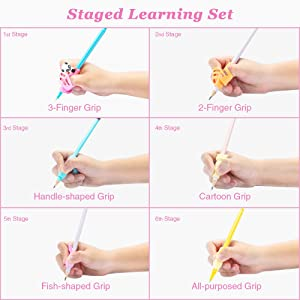 Pencil Grips, Briout Professional 6-Stage Preschool Writing Aid Pencil Grip for Kids Handwriting Pre-Kindergarten Finger Grip Posture Correction Trainer Set with Pencil Case (13 PCS)