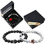 Onshine Couples Bracelets 2 Pack Lava Stone Stretch Beaded Diffuser Bracelet Wedding Birthday Valentine's Day Gift for Couples