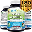 Organic Coconut Oil Capsules 1000 mg - 180 Softgels, Coconut Oil Pills Made with Certified Organic Extra Virgin Coconut Oil. Cold Pressed and Unrefined. Natural Weight Loss Support, Natural Energy Source. No Hassle 100% Money Back Guarantee by ZenVita Formulas