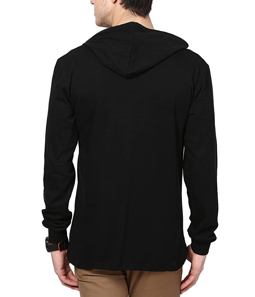 Black t shirt hoodie - Inkovy Full Sleeve Men S Cotton Hooded T Shirt Amazon In Clothing Accessories