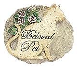 """Napco 9"""" x 8"""" """"Beloved Pet"""" Cat Resin Memorial Garden Stone Plaque"""