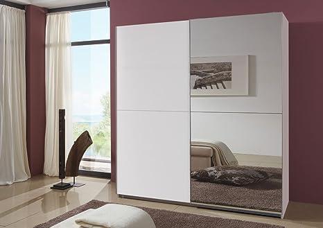 2 trg. Schwebeturenschrank in alpinweiß mit Spiegelelementen, 2 Einlegeböden und 2 Kleiderstangen, Maße: B/H/T ca. 200/220/65 cm