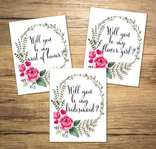Will You Be My Bridesmaid, Flower Girl, Maid of Honor, Etc, Any Title Combination, Floral Wreath Bridal Party Proposal Note Cards Wedding Party Card Set