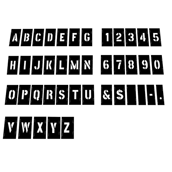 Attisstore Painting Stencil Set, 1 Inch Plastic Letters and Numbers Interlocking Stencil Kit 138 Pieces, Black (Color: Black, Tamaño: 1inch)