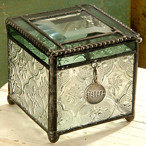 J Devlin Decorative Vintage & Sage Glass Keepsake/storage/jewelry Box with Sisters Charm