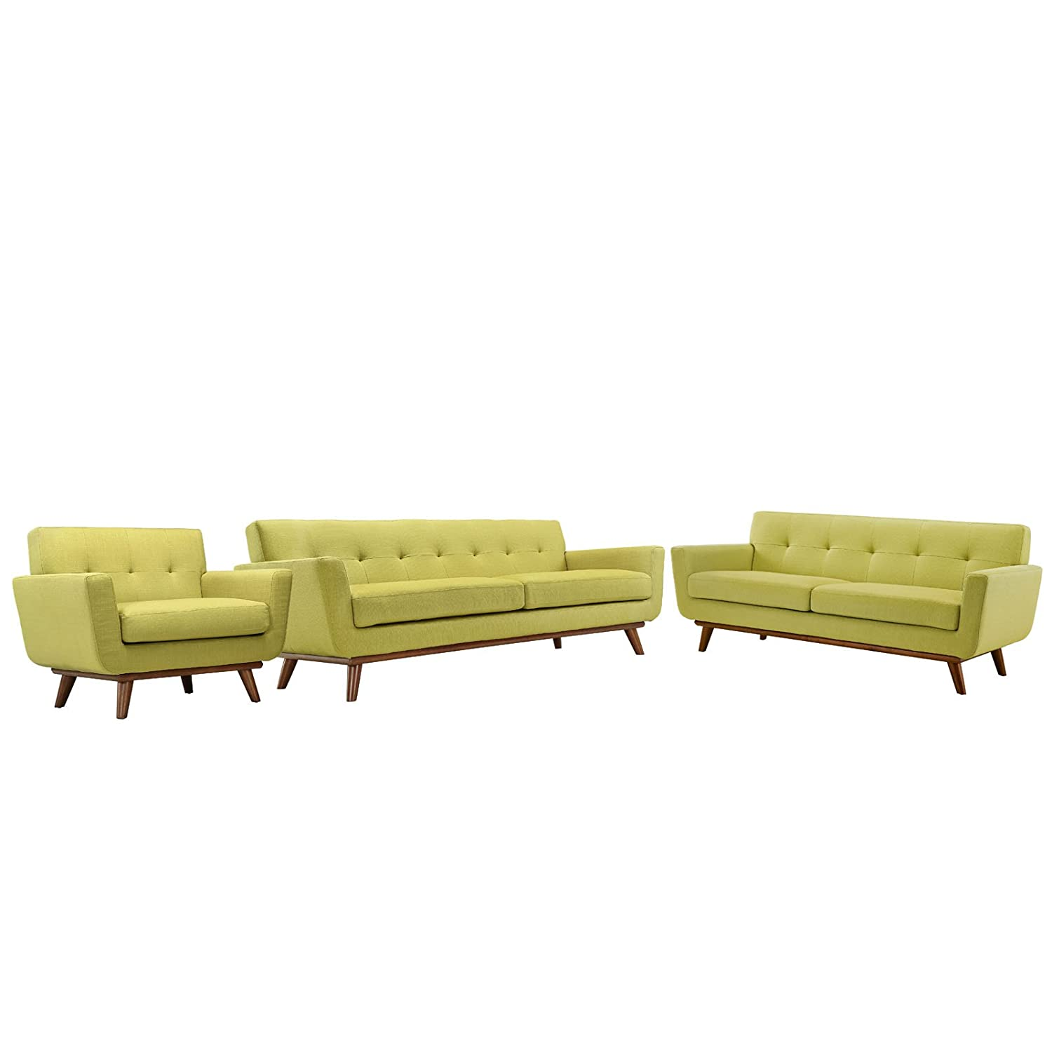 Modern Contemporary Sofa Loveseat and Armchair (set of three) - Green Fabric