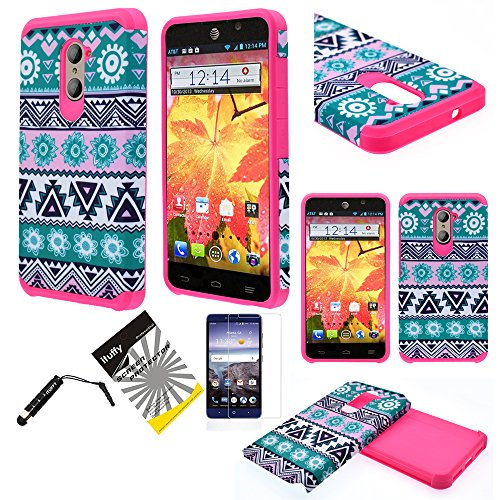 ZTE Grand X Max 2, ZTE Imperial Max Z963U, ZTE Kirk Z988, ZTE Max Duo LTE Z936VL ITUFFY 3items: LCD Protector Film+Stylus Pen+Dual Layer Shock Absorbant Slim Fit Hybrid Armor Case (Aztec Flower) (Zte Imperial Phone compare prices)