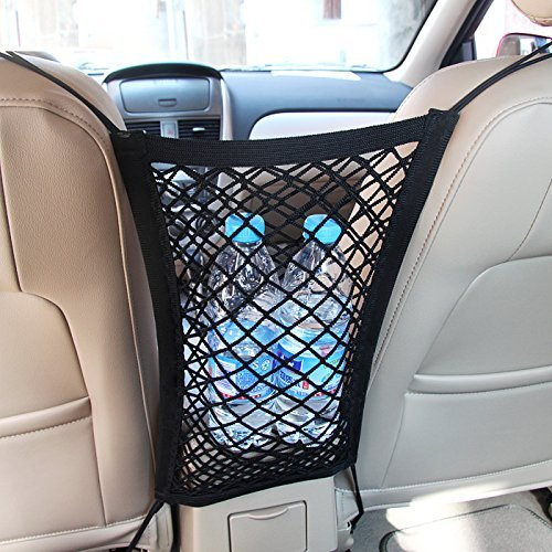 Mictuning Universal Car Seat Storage Mesh/Organizer - Mesh Cargo Net Hook Pouch Holder for Bag Luggage Pets Children Kids Disturb Stopper
