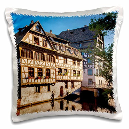 Brian Jannsen - Rivers - Buildings along the canal of River Lil in Strasbourg, Alsace, France. - 16x16 inch Pillow Case (Lil Of France compare prices)