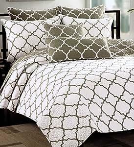 Max Studio Home Quatrefoil Quilt Bedspread 3pc Full Queen