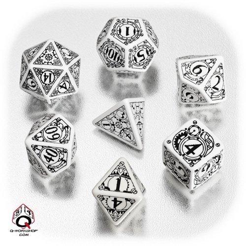 Steampunk Dice White/Black (7) By Q-Workshop