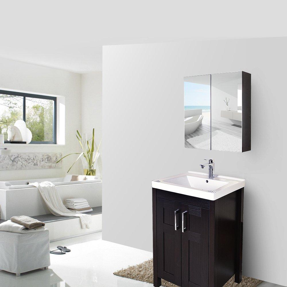 "Elecwish 24"" Wide Wall Mount Mirrored Bathroom Medicine Cabinet Storage 2 Mirror Door (23.6"" 23.6"" 6.3"")"