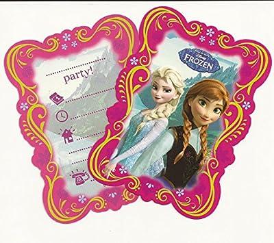 2 X 12-teiliges Einladungskarten-Set * FROZEN - DIE EISKÖNIGIN * für Disney-Kindergeburtstag // 6 Einladungskarten plus 6 Umschläge // Kinder Geburtstag Party Mottoparty Einladung Plates Mädchen Prinzessin Disney