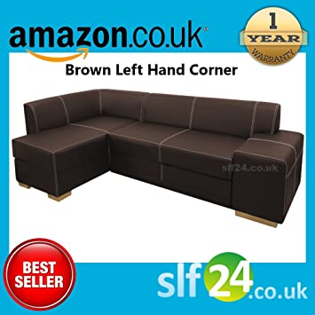 NEW Chamber Corner Sofa Bed with Storage - Black, Brown or Red Faux Leather (Brown Left Hand Corner)