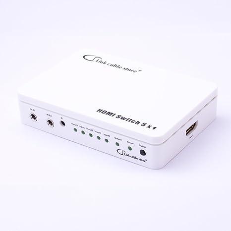 ELEGANCE - SWITCH HDMI Automatique - 5 ports avec Télécommande - 5 sources HDMI vers 1 écran - Full HD 1080p - 3D Optimisé - Amplicateur intégré - Connecteurs plaqués or - Certifié HDCP - Boitier en