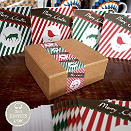 Christmas Cards Boxset 12 small cards 9.5x9.5cm) Vintage Style Designs