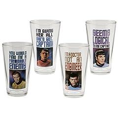 Vandor Star Trek 16-Ounce Glass Set, 4 Glasses per Set, Multicolored