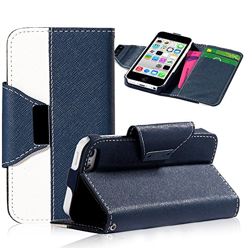 Mylife Dark Royal Navy Blue And White {Classic Design} Faux Leather (Card, Cash And Id Holder + Magnetic Closing + Hand Strap) Slim Wallet For The Iphone 5C Smartphone By Apple (External Textured Synthetic Leather With Magnetic Clip + Internal Secure Snap