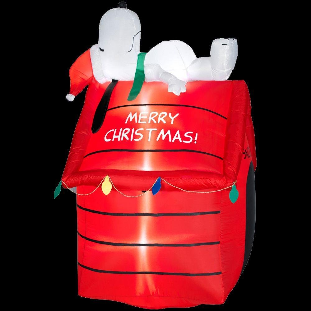 christmas decoration lawn yard inflatable airblown peanuts snoopy lying on doghouse 5 tall lights up self inflates in seconds includes everything needed - Snoopy Blow Up Christmas Decorations