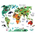 Ochi&Moji Kids Room Decor Colorful World Map Removable Wall sticker DIY