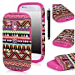 E LV Samsung Galaxy S3 MINI i8190 2 in 1 Hard Soft High Impact Hybrid Armor Defender Case Combo for S3 MINI i8190 with 1 Black Stylus and E LV Microfiber Digital Cleaner (Tribal Hot Pink, Samsung S3 Mini)