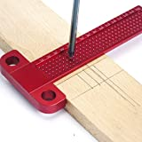 Weite Multi-purpose Woodworking Scriber Precision Marking T-Rule, T-type Ruler 160mm Hole Positioning Scribing Gauge Crossed Feet Metric Measuring Tools (Red) (Color: Red, Tamaño: Medium)